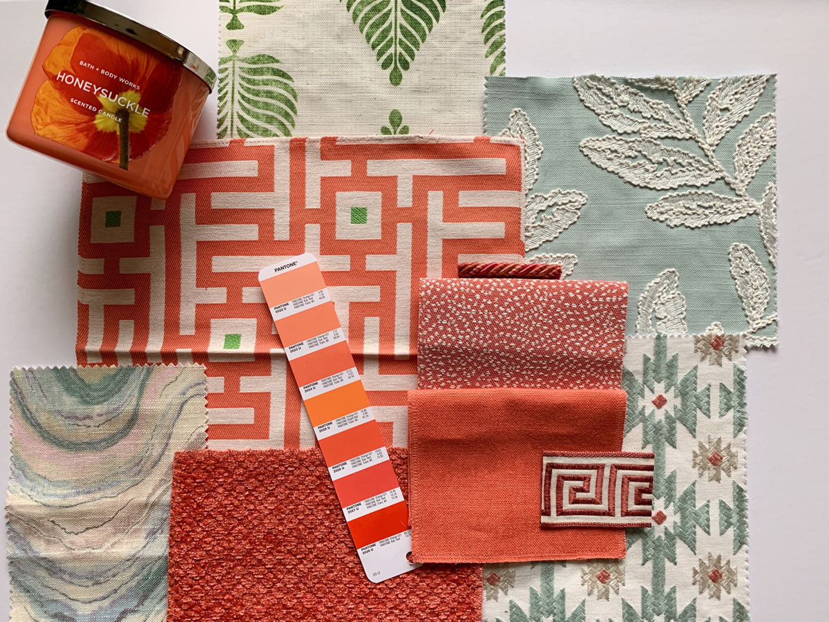 Crimson Peach fabric color sheme